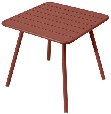 Table Luxembourg / 80 x 80 cm - 4 pieds - Fermob ocre rouge en métal