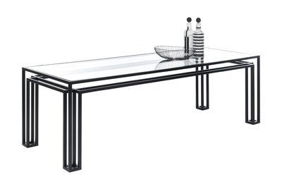 Mobilier - Tables - Table rectangulaire Hotline / 200 x 75 cm - Mogg - Noir - Métal peint, Verre