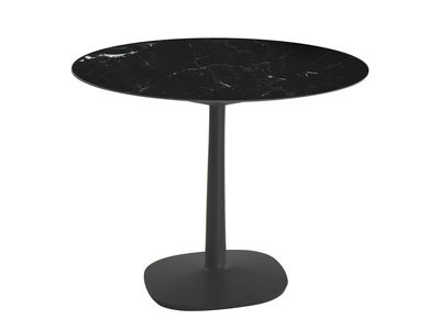 Outdoor - Tables de jardin - Table ronde Multiplo indoor/outdoor - Grès effet marbre / Ø 78 cm - Kartell - Noir - Aluminium verni, Grès cérame effet marbre