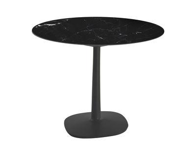 Table ronde Multiplo indoor/outdoor - Grès effet marbre / Ø 78 cm - Kartell noir en céramique/pierre