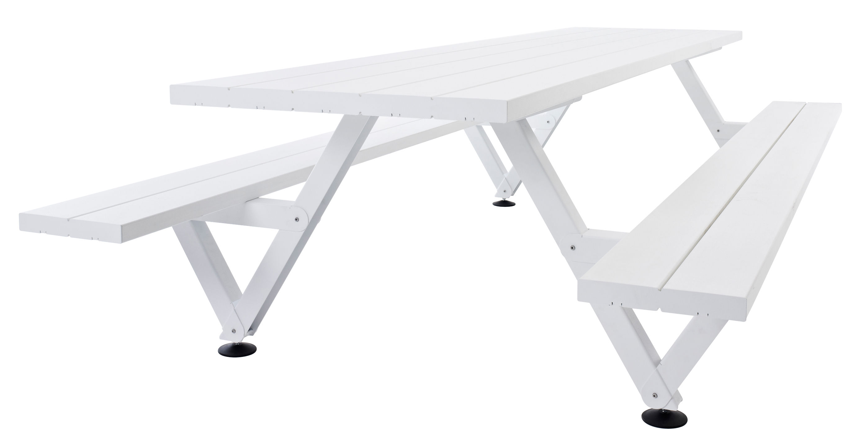 Outdoor - Garden Tables - Marina Table & seats set by Extremis - White - Fibreglass, Lacquered steel