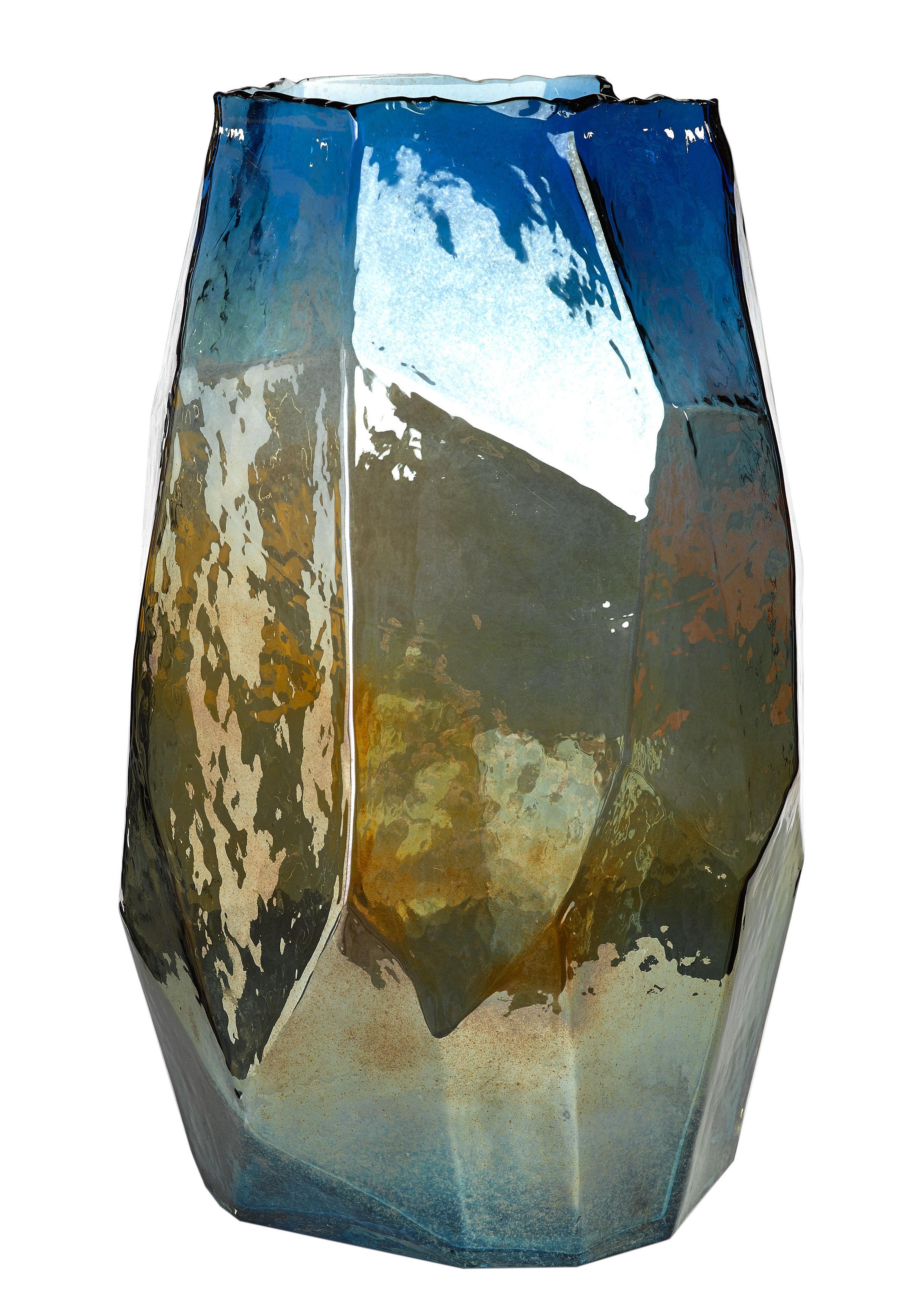 Déco - Vases - Vase Graphic Luster Large / H 40 cm - Verre irisé - Pols Potten - Bleu iridescent - Verre teinté