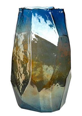 Interni - Vasi - Vaso Graphic Luster Large / H 40 cm - Vetro iridescente - Pols Potten - Blu iridescente - Vetro colorato