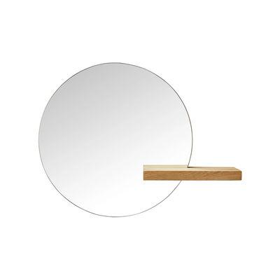 Decoration - Mirrors - Shift Small Wall mirror - / Ø 50 cm - Oak shelf by Bolia - Ø 50 cm / Oak - Glass, Oak