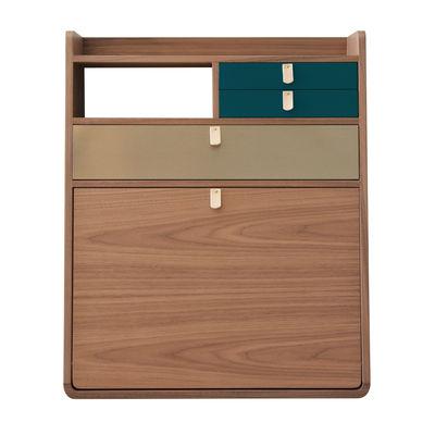 Möbel - Möbel für Kinder - Gaston Wand-Schreibtisch / L 60 x H 72 cm - Nussbaum - Hartô - Petrolblau & Messing / Nussbaum - eichenfurnierte Holzfaserplatte, Leder