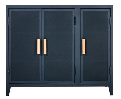 Möbel - Aufbewahrungsmöbel - Vestiaire bas Ablage / 3 Türen - Lochblech & Holz - Tolix - Nachtblau / Griffe Eiche - Lackierter recycelter Stahl, massive Eiche