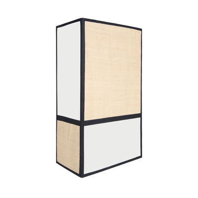 Luminaire - Appliques - Applique Céleste / H 36 cm - Non électrifiée - Maison Sarah Lavoine - Blanc & noir / Naturel - Percale de coton, Rabane naturelle