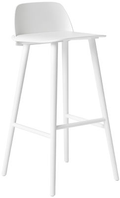 Furniture - Bar Stools - Nerd Bar chair - H 75 cm -Wood by Muuto - White - Lacquered ash