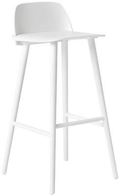Mobilier - Tabourets de bar - Chaise de bar Nerd / H 75 cm - Bois - Muuto - Blanc - Frêne laqué