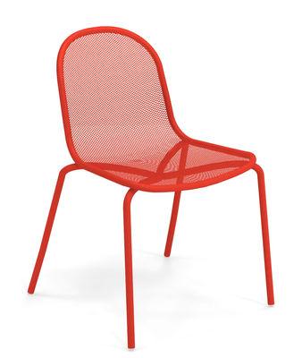 Chaise empilable Nova Métal Emu rouge en métal