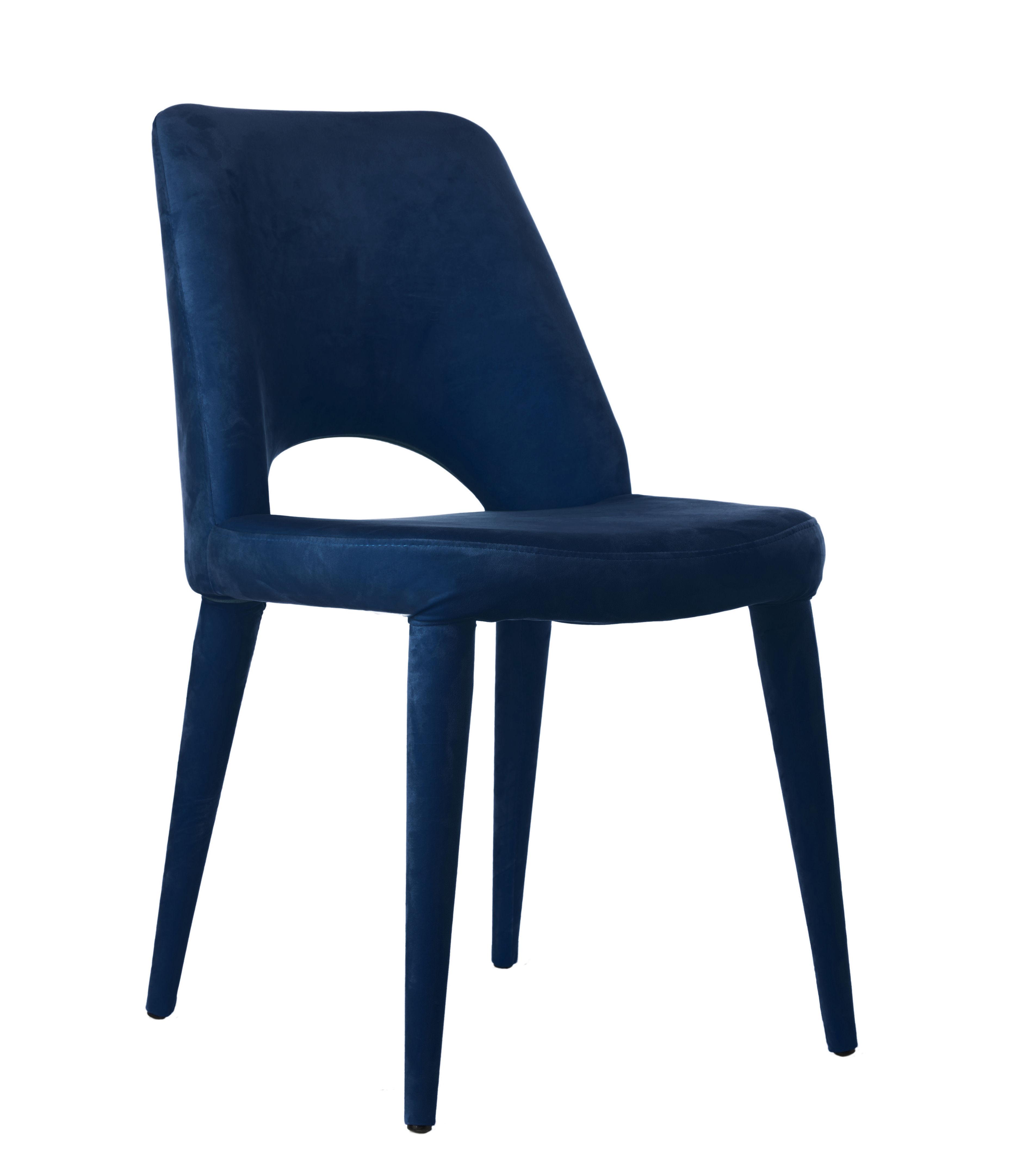 Mobilier - Chaises, fauteuils de salle à manger - Chaise rembourrée Holy / Velours - Pols Potten - Bleu nuit - Mousse, Velours