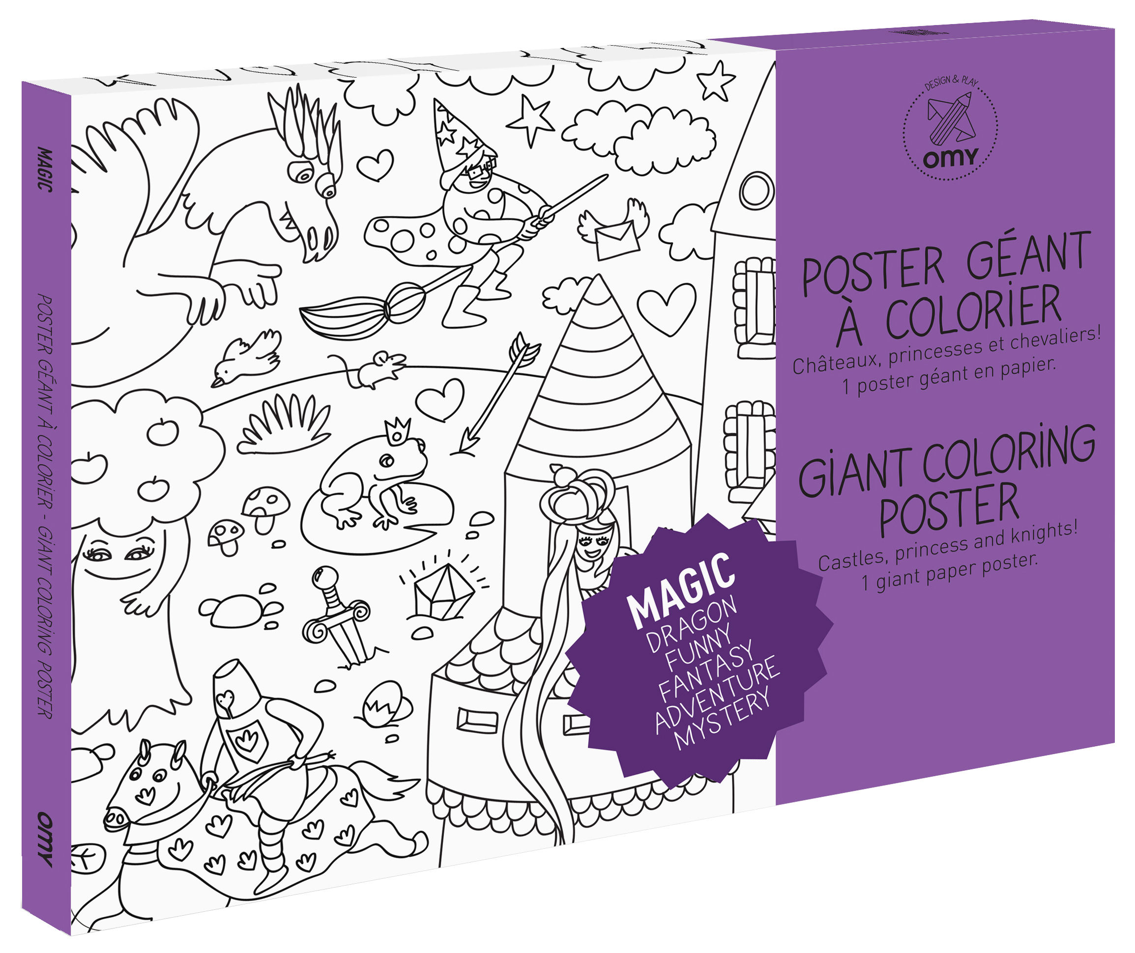 Decoration - Children's Home Accessories - Magic Colouring poster - / Giant - L 115 x 80 cm by OMY Design & Play - Black, White - Papier recyclé