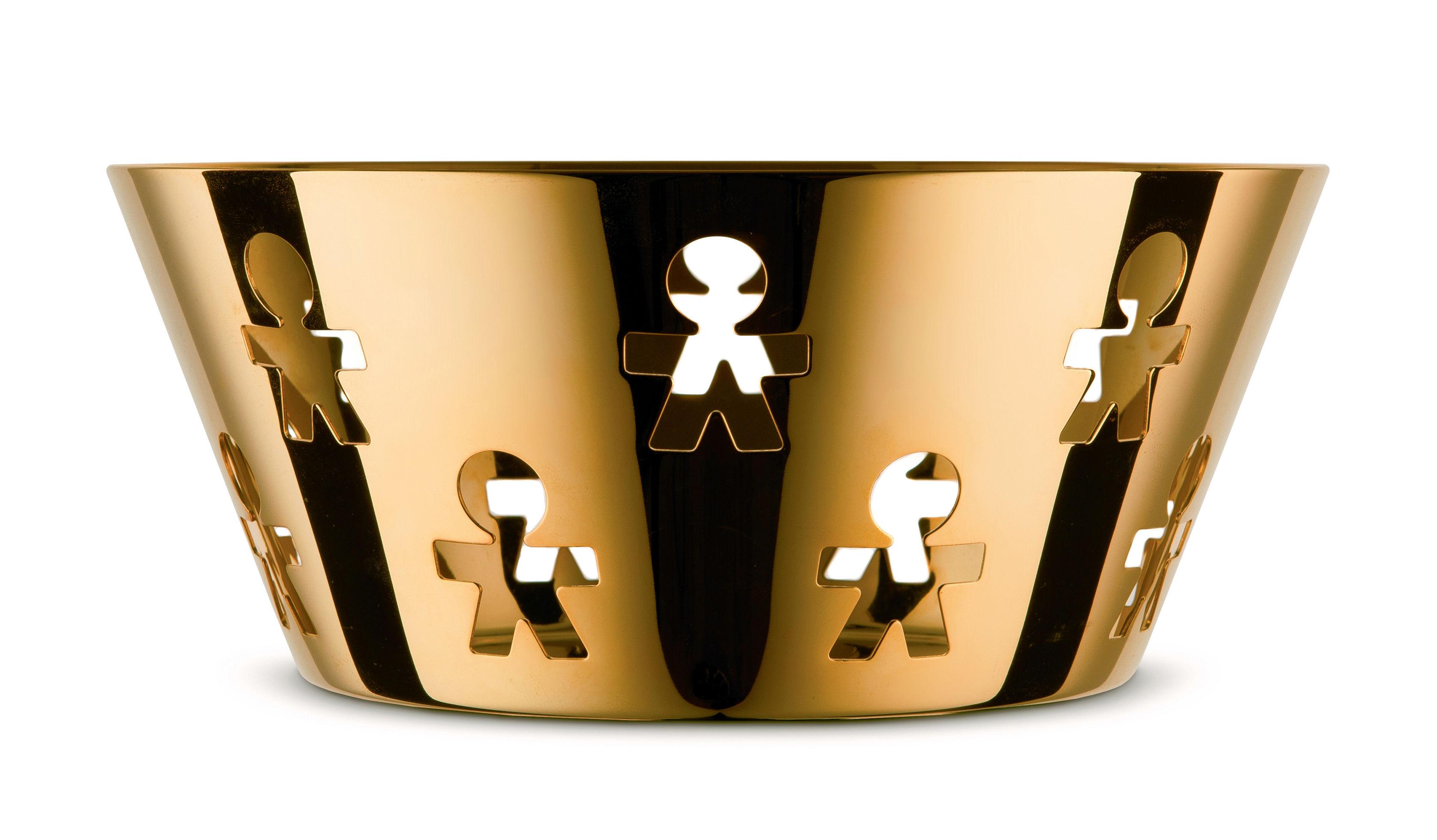 Arts de la table - Corbeilles, centres de table - Corbeille Girotondo Or 24 carats / Ø 20,5 cm -Edition limitée & numerotée - Alessi - Or 24 carats / Ø 20,5 cm - Acier inoxydable plaqué or 24 carats