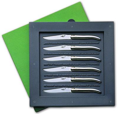 Arts de la table - Couverts de table - Couteau de table par Philippe Starck / Lot de 6 - Forge de Laguiole - Manche : Inox brillant - Acier inoxydable