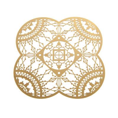 Arts de la table - Dessous de plat - Dessous de verre Petal Italic Lace / 10 x 10 cm - Lot de 4 - Driade Kosmo - Laiton - Laiton