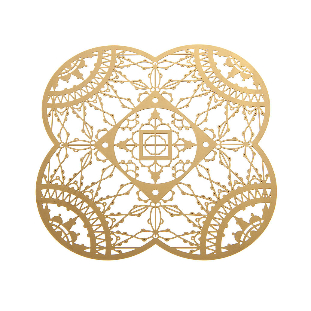 Arts de la table - Accessoires - Dessous de verre Petal Italic Lace / 10 x 10 cm - Lot de 4 - Driade Kosmo - Laiton - Laiton
