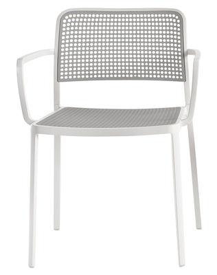 Fauteuil empilable Audrey / Structure laquée - Kartell gris clair en matière plastique