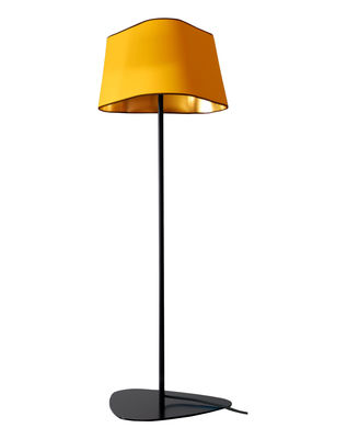Lighting - Floor lamps - Grand Nuage Floor lamp - H 122 cm by Designheure - Yellow fabric outside / Gold lacquered inside - Black cord - Fabric, Lacquered steel, Polycarbonate