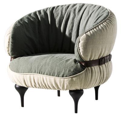 Möbel - Lounge Sessel - Chubby chic Gepolsterter Sessel - Diesel with Moroso - Außenseite naturfarben / Innenseite dunkelgrau - Buchenfurnier, Leder, Leinen, Schaumstoff, Stahl