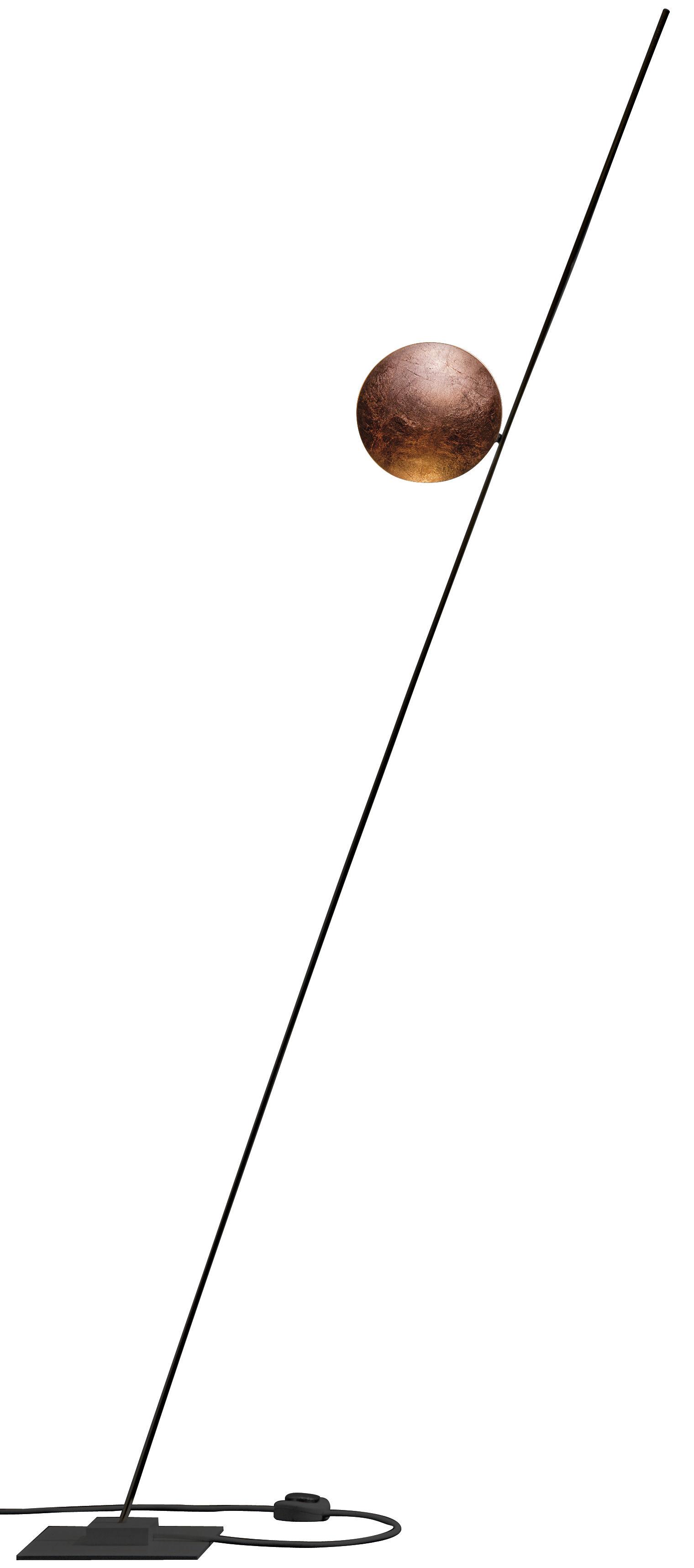 Luminaire - Lampadaires - Lampadaire Lederam F1 / LED - H 175 cm - Catellani & Smith - Disque cuivre / Tige noire / base noire - Aluminium, Feuilles de cuivre, Métal peint