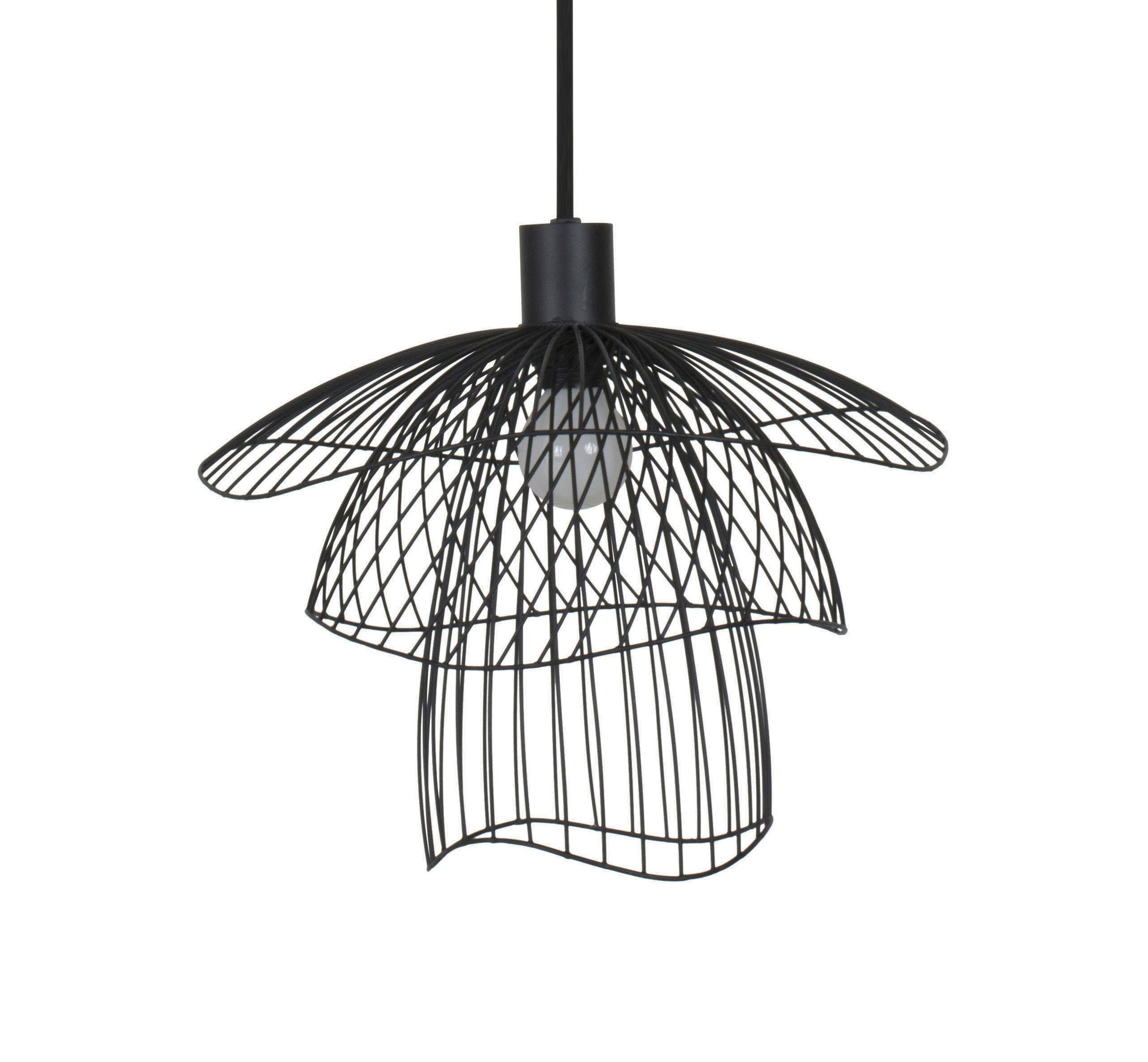 Lighting - Pendant Lighting - Papillon XS Pendant - / Ø 35 cm by Forestier - Black - Powder coated steel