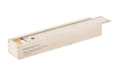 Accessori moda - Penne e Quaderni - Portamatite Monograph / Con 12 matite & righello - House Doctor - Legno / Matite bianche - Legno