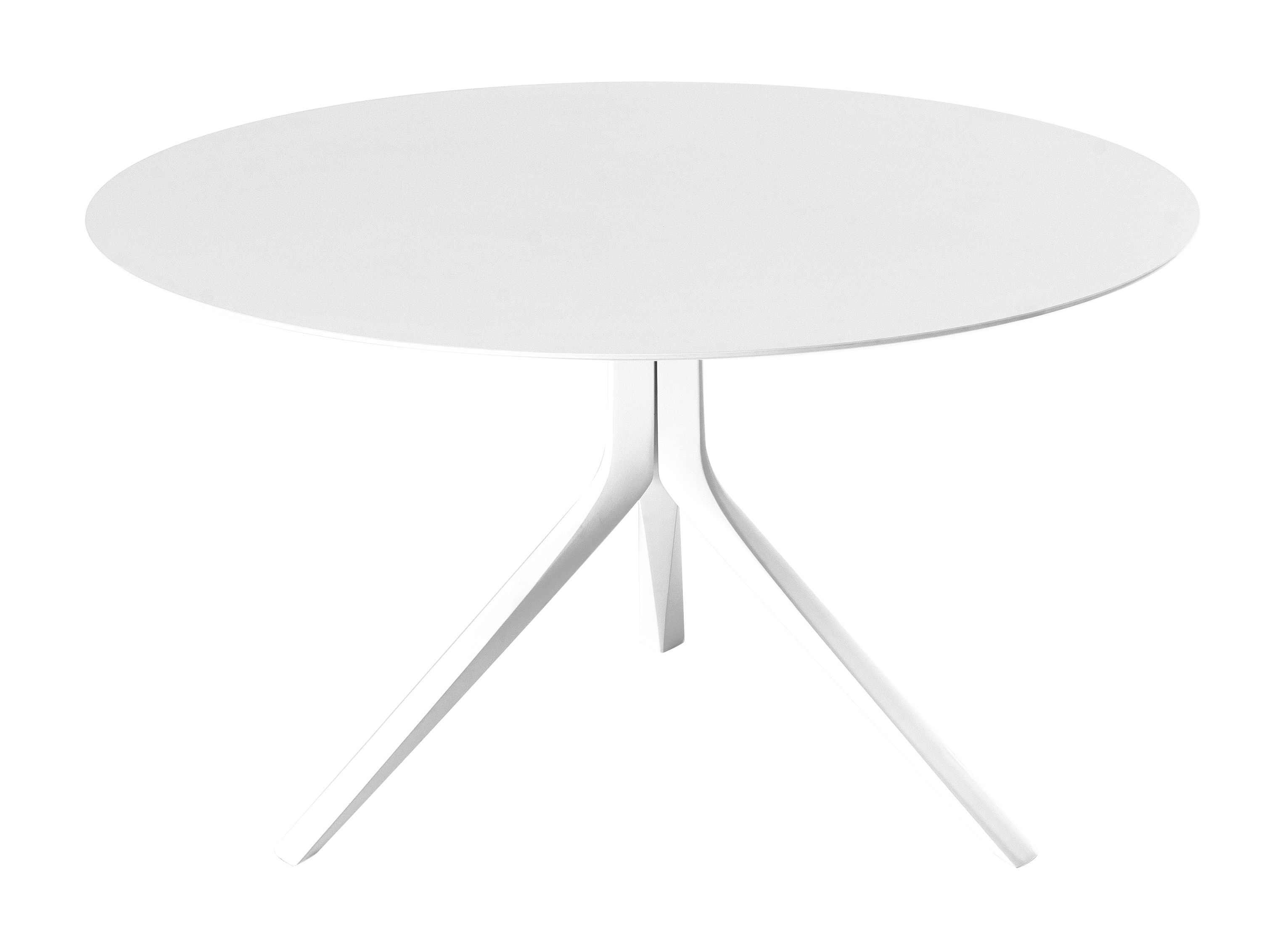 Outdoor - Garden Tables - Oops I did it again Round table - Ø 120 cm by Kristalia - White / White legs - Lacquered aluminium, Stratified
