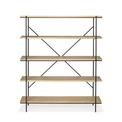 Arredamento - Scaffali e librerie - Scaffale Rise - / Rovere massello & metallo - L 140 x H 165 cm di Ethnicraft - Rovere & nero - metallo verniciato, Rovere massello