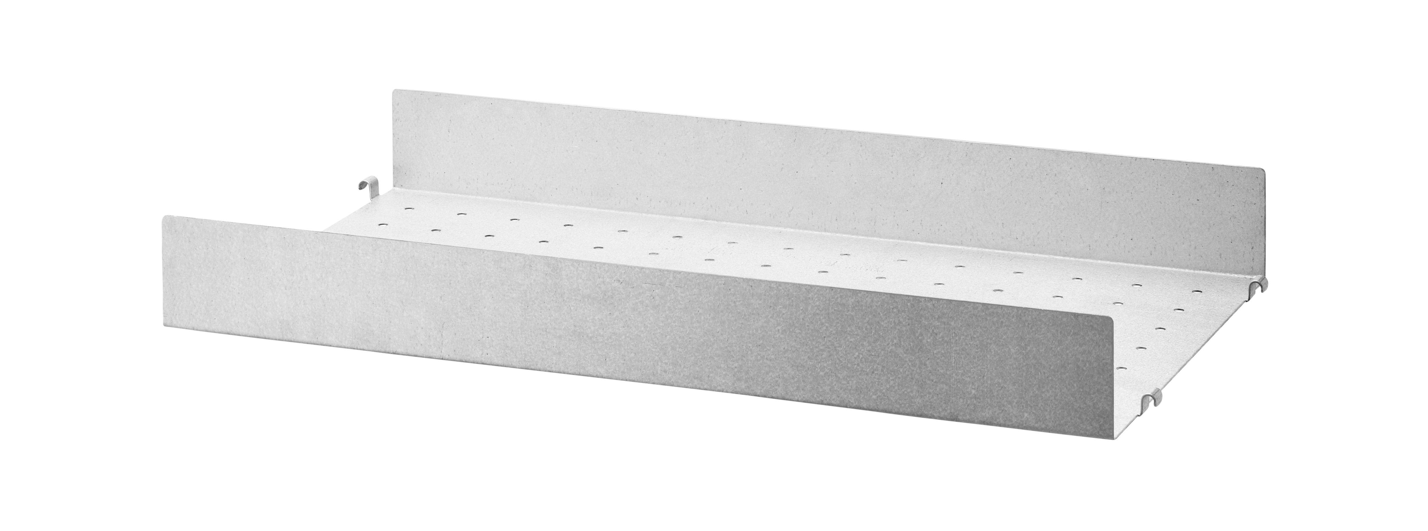 Arredamento - Scaffali e librerie - Scaffale String Outdoor - / Acciaio zincato traforato - Bordo alto - 58 x P 30 cm di String Furniture - Bordo alto / Zincato - Aluzinc