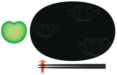 Cuisine - La cuisine s'amuse - Set à sushi Lily Pond - A di Alessi - Noir - Vert - Rouge - Mélamine, Porcelaine Bone China