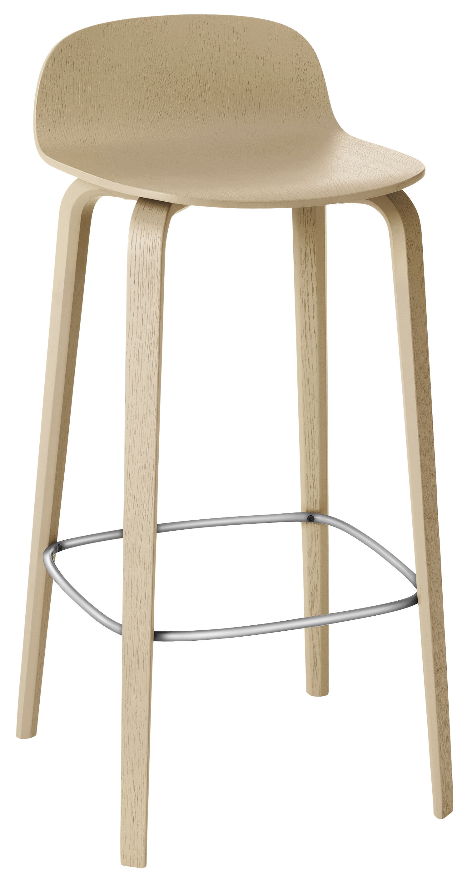 scopri sgabello alto visu h 75cm rovere poggiapiedi acciaio di muuto made in design italia. Black Bedroom Furniture Sets. Home Design Ideas