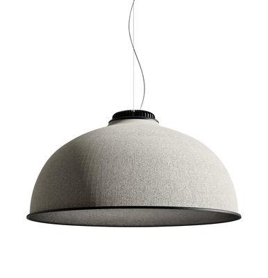Illuminazione - Lampadari - Sospensione acustica Farel LED - / Tessuto di Luceplan - Grigio chiaro / Nero - Alluminio, Tessuto