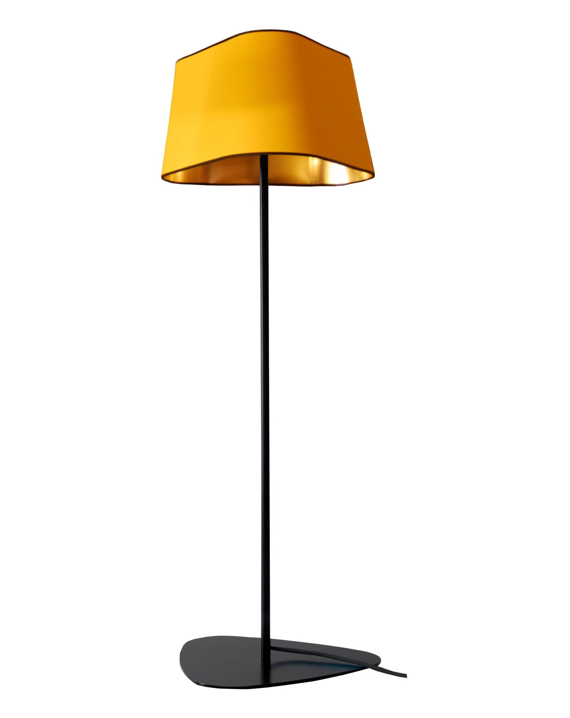 Leuchten - Stehleuchten - Grand Nuage Stehleuchte H 122 cm - Designheure - Gelber Stoff / Innenseite goldfarben lackiertes PVC - Gewebe, lackierter Stahl, Polykarbonat
