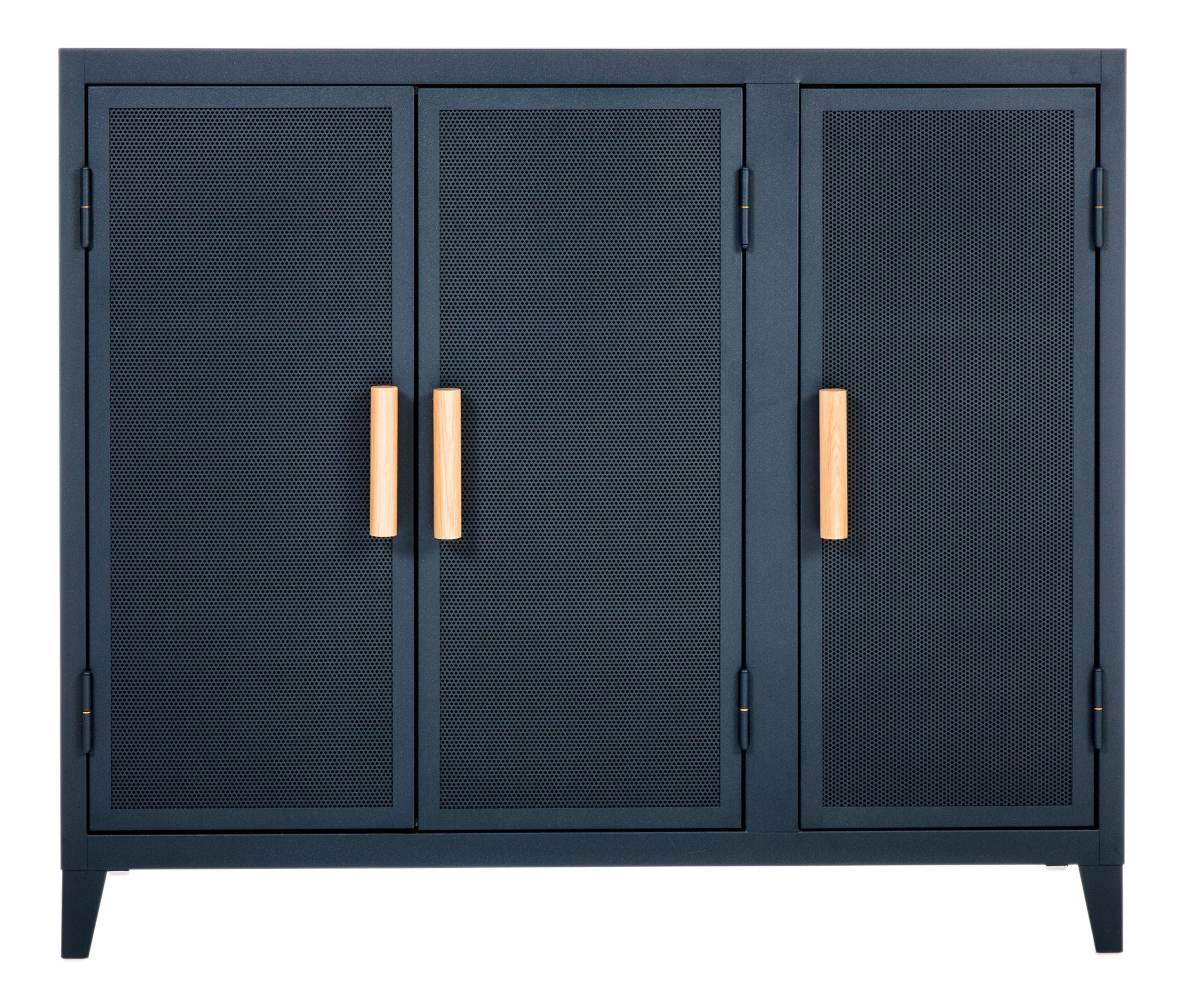 Furniture - Shelves & Storage Furniture - Vestiaire bas Storage - 3 doors / Perforated steel & wood by Tolix - Night blue / Oak handles - Lacquered recycled steel, Solid oak