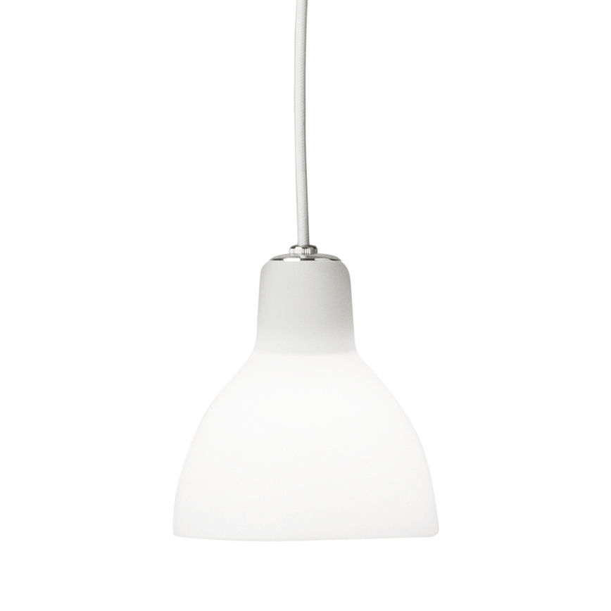 Luminaire - Suspensions - Suspension Luxy H5 /Cordon blanc - Rotaliana - Cordon blanc / Blanc brillant - Verre pressé peint