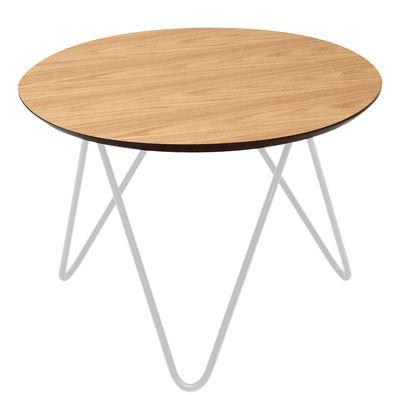 Mobilier - Tables basses - Table basse Bergerac / Modèle bas - H 30 cm - Sentou Edition - Blanc / Chêne - MDF, Métal laqué