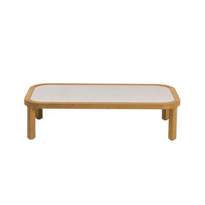 Table basse Grand Life / 100 x 65 x H 25 cm - Pierre céramique & teck naturel - Ethimo blanc/bois naturel en bois/pierre