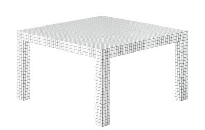 Mobilier - Tables - Table carrée Quaderna / 126 x 126 cm - Modèle de 1970 - Zanotta - 126 x 126 cm / Blanc & quadrillage noir - Panneau alvéolaire, Plastique lamifié