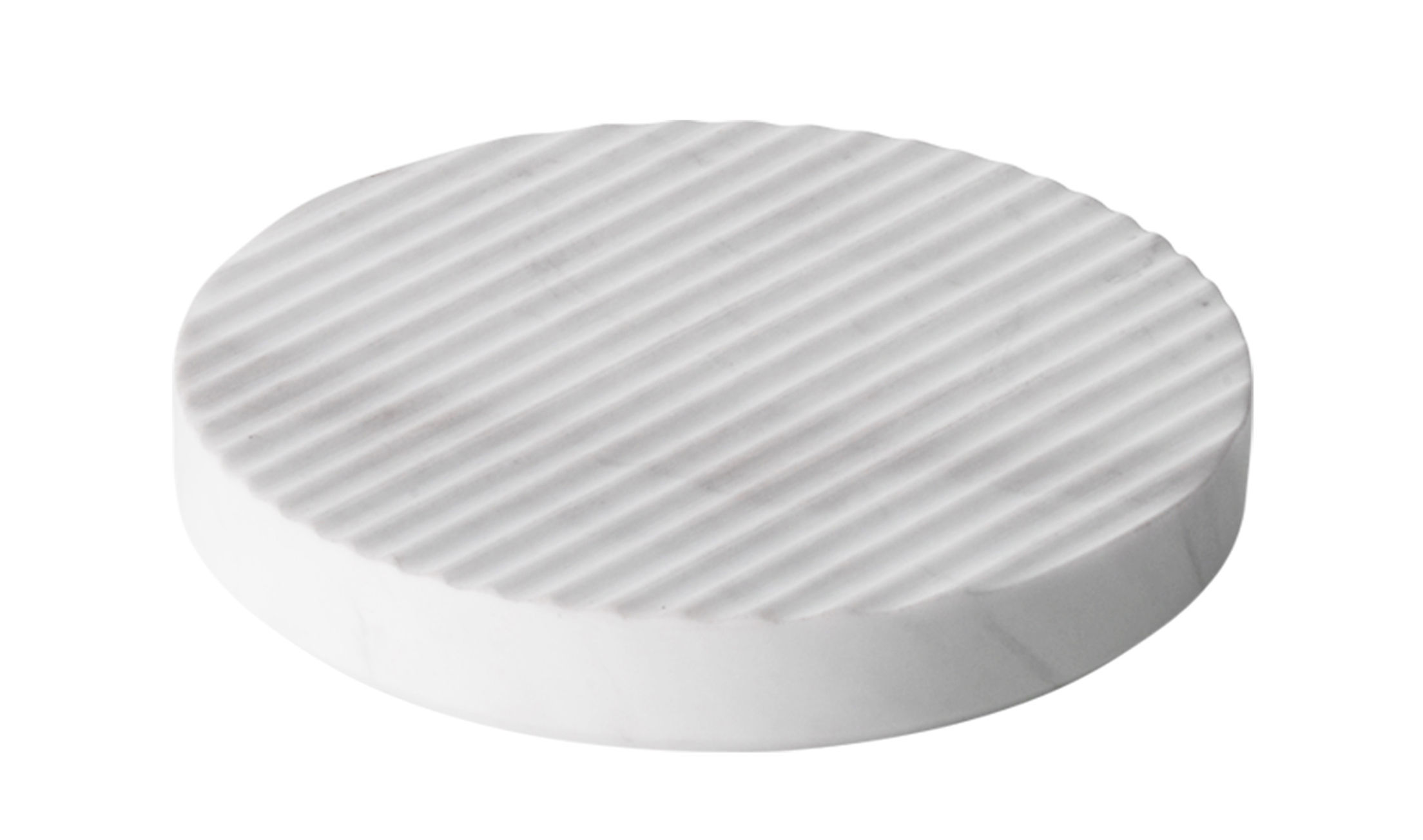 Tableware - Table Mats & Trivets - Groove Tablemat - / Small - Ø 16 cm by Muuto - White - Marble