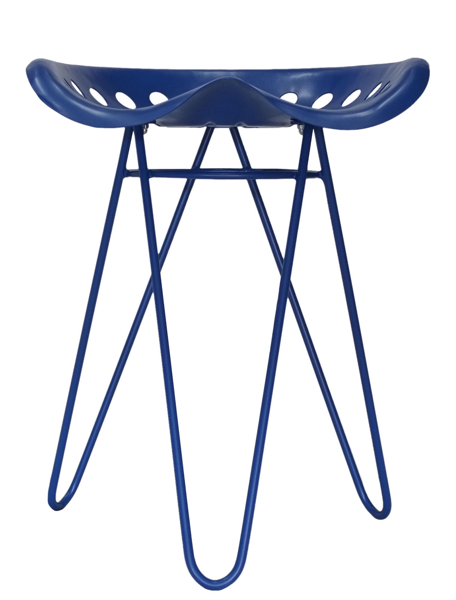 Mobilier - Tabourets bas - Tabouret Gouvy / H 49 cm - Métal - Nantavia - Bleu klein - Acier