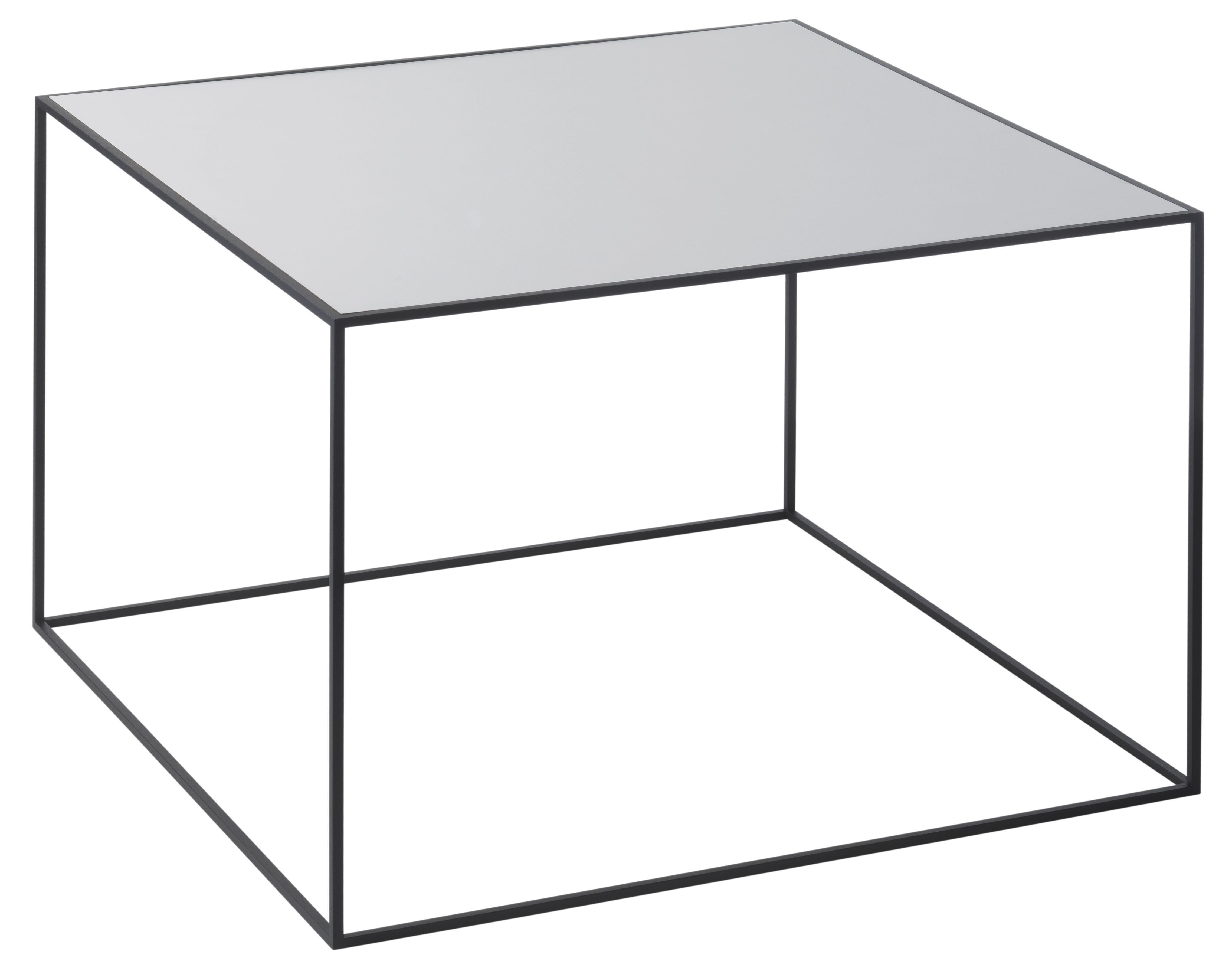 Arredamento - Tavolini  - Tavolino d'appoggio Twin - / L 49 x H 35 cm - Piano reversibile di by Lassen - L 49 cm /  1 lato grigio + 1 lato nero - Acciaio laccato, Frassino tinto, Melamina