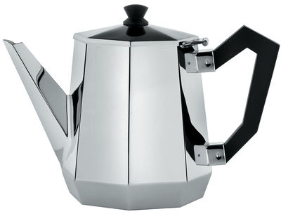 Tischkultur - Tee und Kaffee - Memories from the future - Ottagonale Teekanne - Alessi - Stahl glänzend - schwarz - polierter Stahl