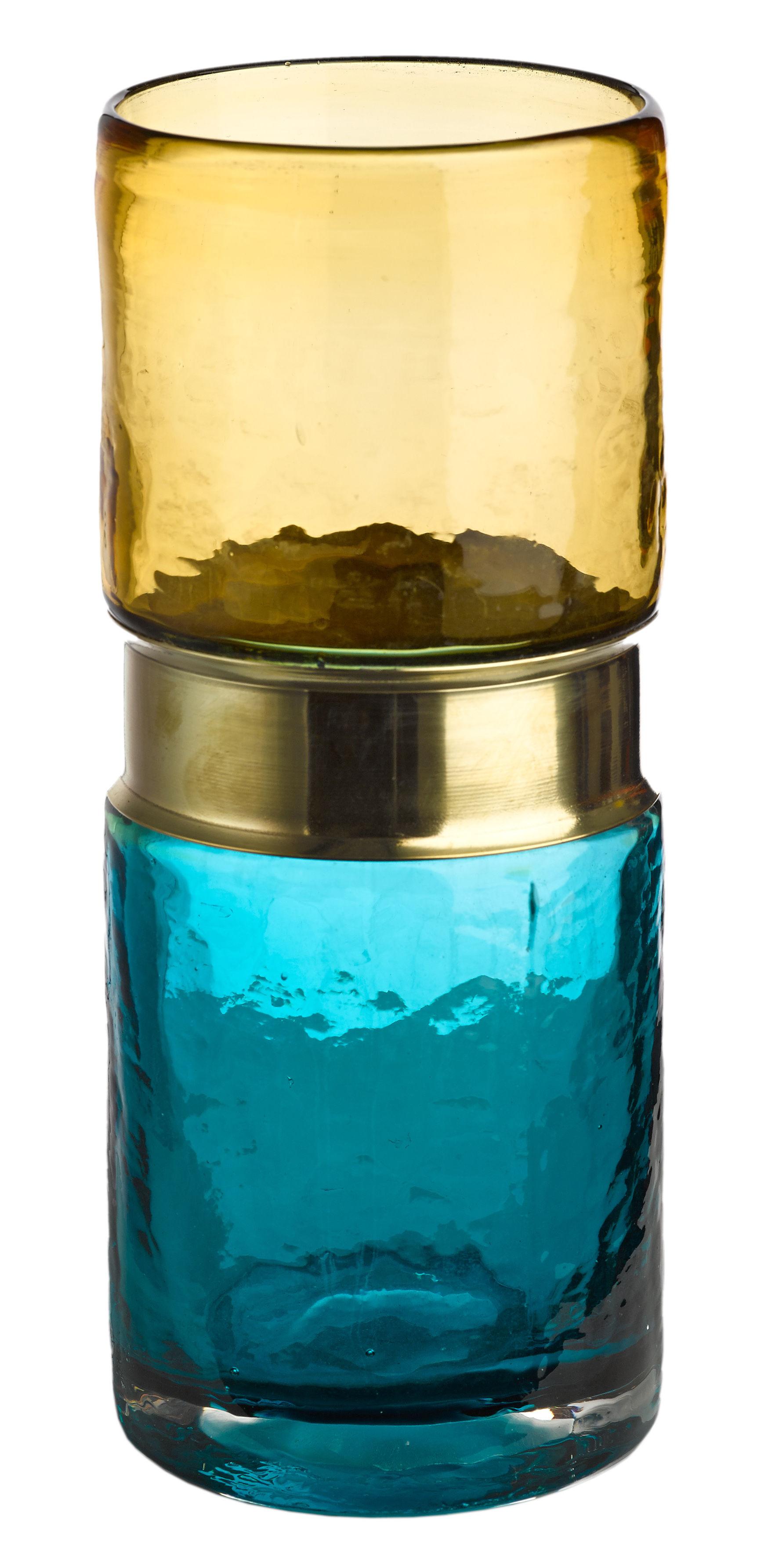 Déco - Vases - Vase Belt / Verre & Laiton - H 26 cm - Pols Potten - Bleu, Ambre / Laiton - Laiton, Verre