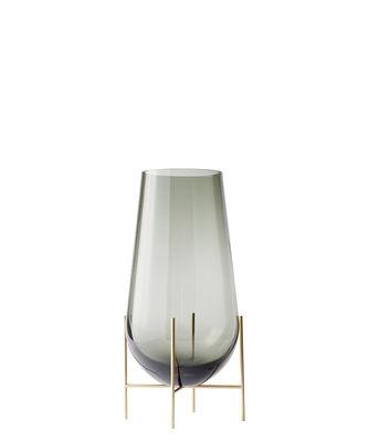 Dekoration - Vasen - Echasse  Small Vase / H 28 cm - Menu - H 28 cm / Rauchglas & Messing - Glas, Laiton massif