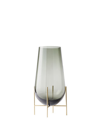 Decoration - Vases - Echasse  Small Vase - / H 28 cm by Menu - H 28 cm / Smoked glass & Brass - Glass, Solid brass