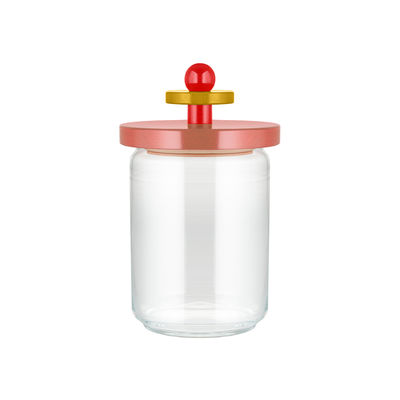 Tableware - Storage jars and boxes - / By Ettore Sottsass - 100 cl Airtight jar - / Alessi 100 Values Collection by Alessi - Pink - FSC-certified solid turned lime wood, Glass, Silicone