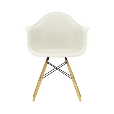 Furniture - Chairs - DAW - Eames Plastic Armchair Armchair - / (1950) - Light wood legs by Vitra - Pebble grey / Light wood - Polypropylene, Solid maple