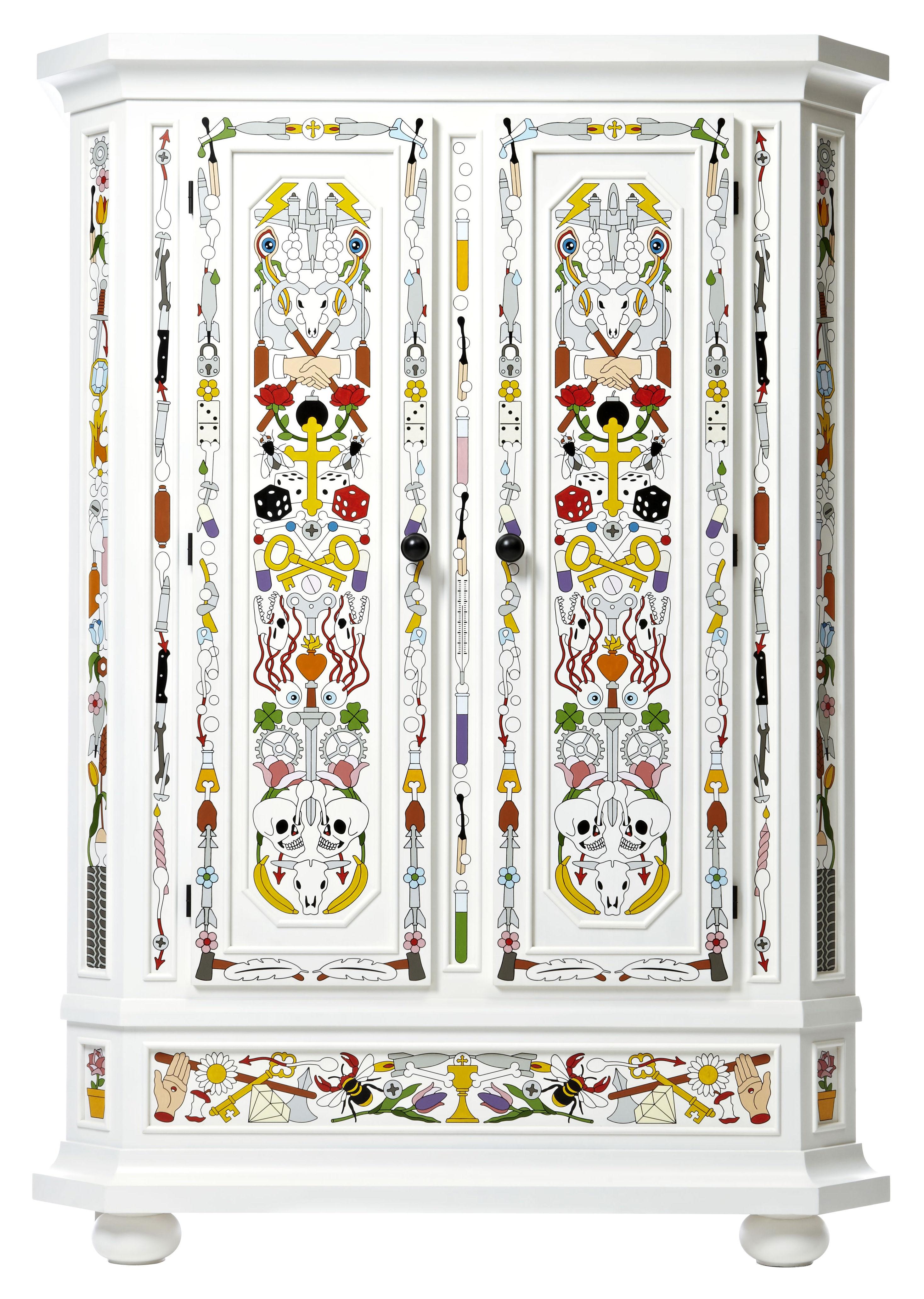 Mobilier - Commodes, buffets & armoires - Armoire Altdeutsche / Peint à la main - Moooi - Armoire - Blanc & multicolore - Pin massif