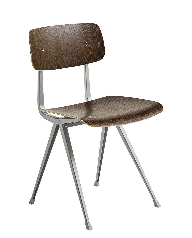 Mobilier - Chaises, fauteuils de salle à manger - Chaise Result / Réédition 1958 - Hay - Chêne fumé / Pieds beiges - Acier laqué, Contreplaqué de chêne fumé