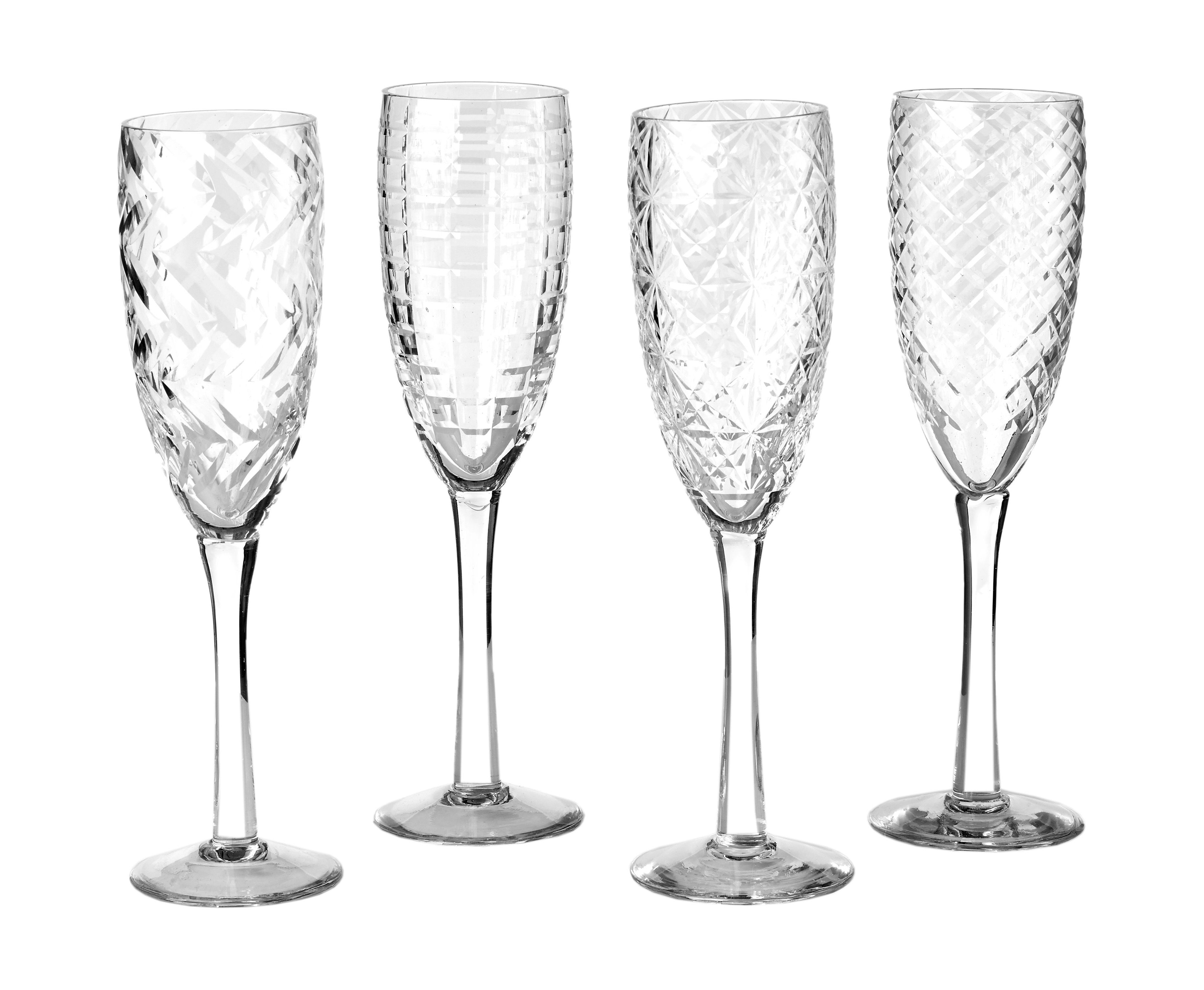 Tableware - Wine Glasses & Glassware - Cuttings Champagne glass - Set of 4 by Pols Potten - Transparent - Engraved glass